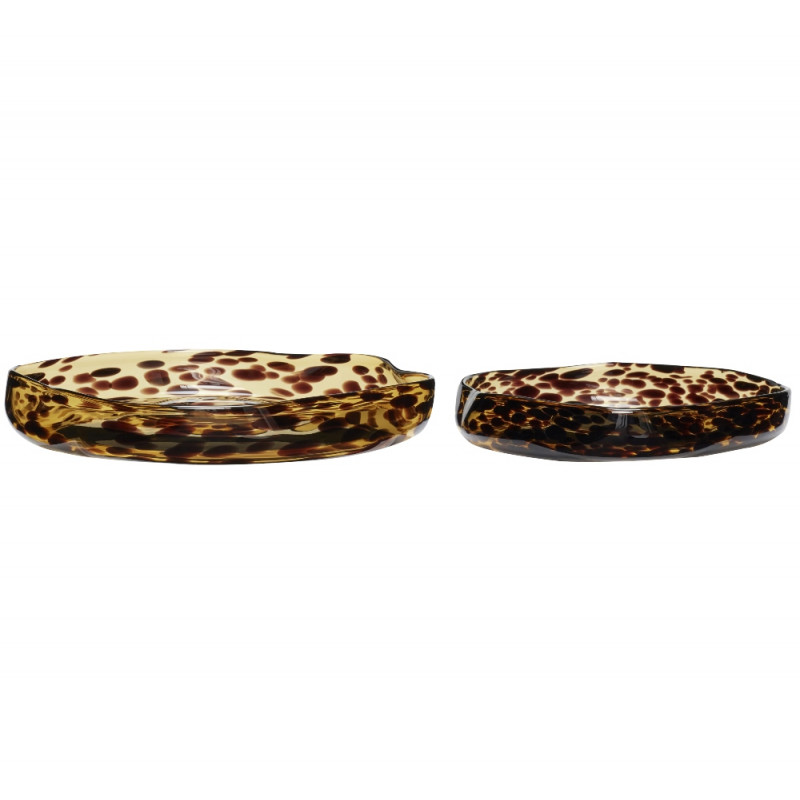 Hubsch Trays Yellow Brown Glass | Set of Two