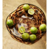 Hubsch Trays Yellow Brown Glass   Set of Two