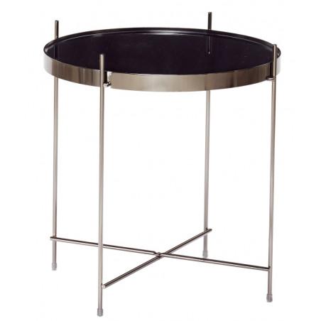 Hubsch Gun Metal Round Coffee Table With Mirror Top