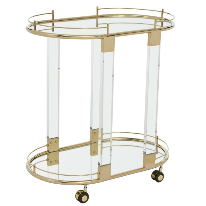 Drinks Trolley In Gold Stainless Steel