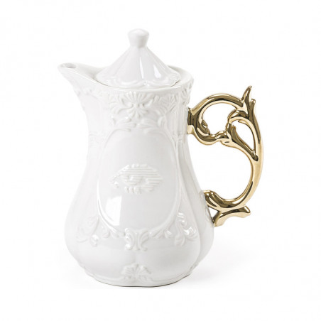 Seletti I-wares Porcelain Tea Pot with Gold Handle
