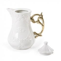 Seletti I-wares Porcelain Tea Pot with Gold Handle