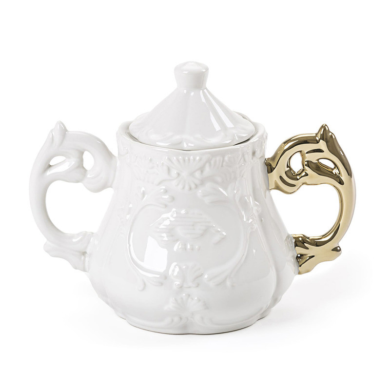 Seletti I-wares Porcelain Sugar Bowl with Gold Handle