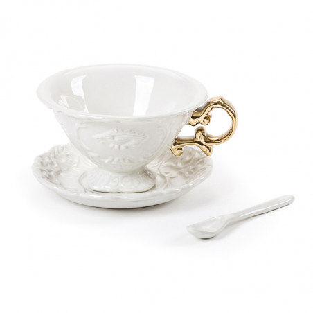 Seletti I-wares Porcelain Tea Set with Gold Handle