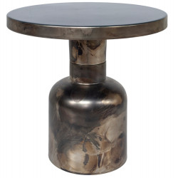 Dome Deco Side Table Enamel Top Brass Base H: 44 CM