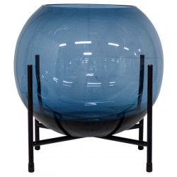 Dome Deco Glass Vase On Metal Stand Blue