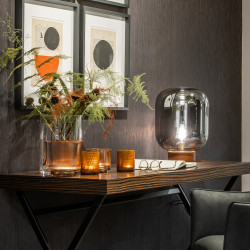 Dome Deco Lines Tea Light Sprayed Glass | Medium