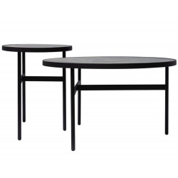 Dome Deco Soho Coffee Tables Brown Ceramic Top Set of Two