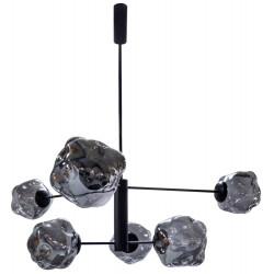 Dome Deco Glass Pendant Lamp with 6 LED Bulbs Smoke glass