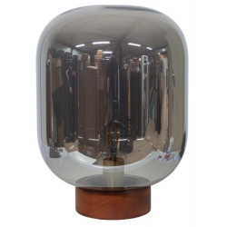 Dome Deco Glass Table Lamp with Wooden Base & LED Bulb