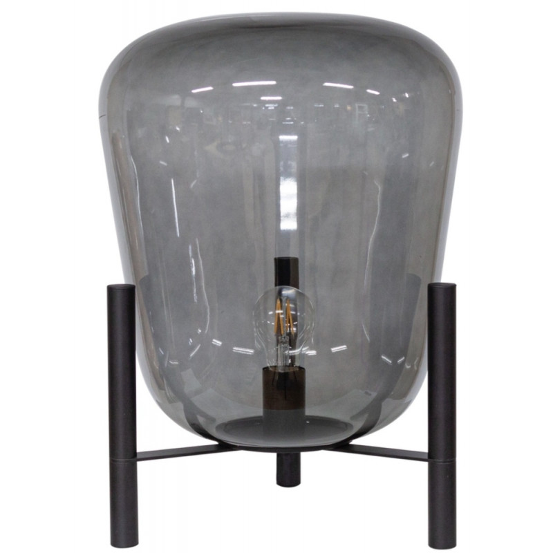 Dome Deco Glass Table Lamp with Metal Stand & LED Bulb