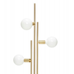 Hubsch Floor Lamp with White Glass Spheres and Brass Frame