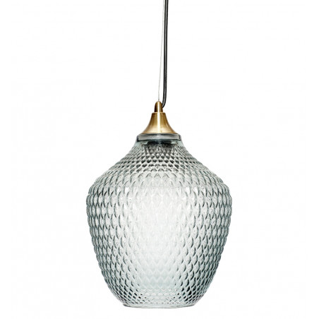 Hubsch Pendant Lamp in Brass and Blue Glass