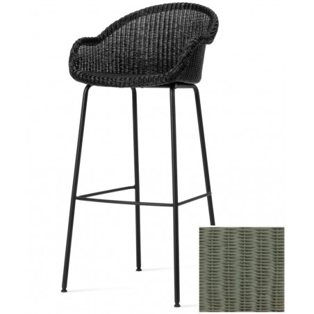 Vincent Sheppard Avril Bar Stool Black Steel Base Dusty Green