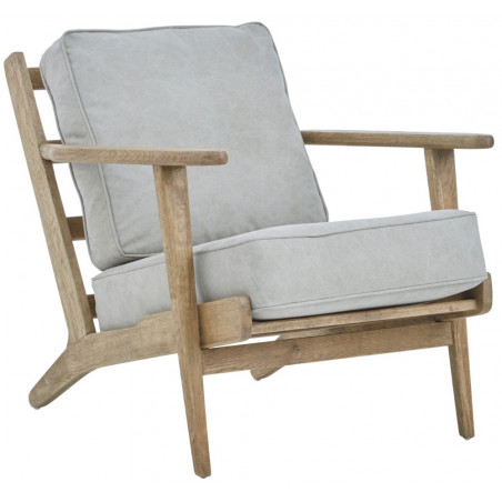 Lagoon Collection Mid-Century Armchair Oak Linen Cushions
