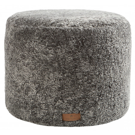 Shepherd of Sweden Frida Round Pouf in Sheepskin Graphite