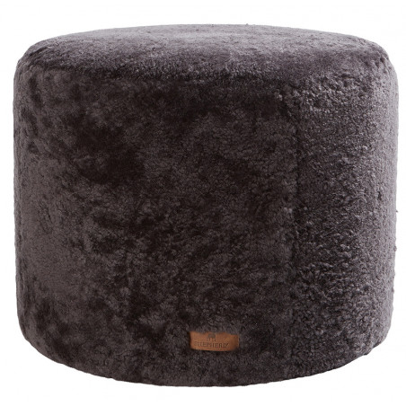 Shepherd of Sweden Frida Round Pouf in Sheepskin Carbon