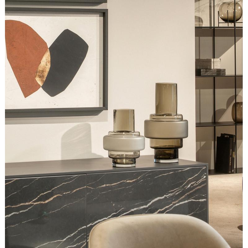 Dome Deco Glass Vase Sandblasted Brown Tall