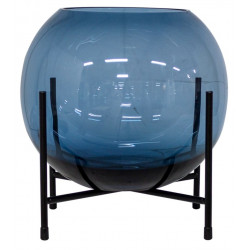 Dome Deco Glass Vase On Metal Stand Blue Medium
