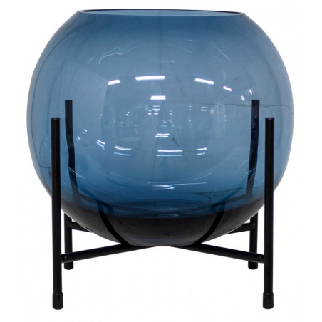 Dome Deco Glass Vase On Metal Stand Blue Medium