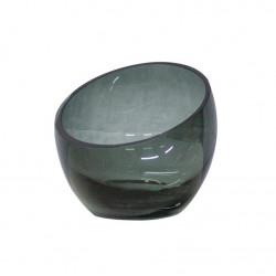 Dome Deco Tea Light Holder Grey Glass | Small