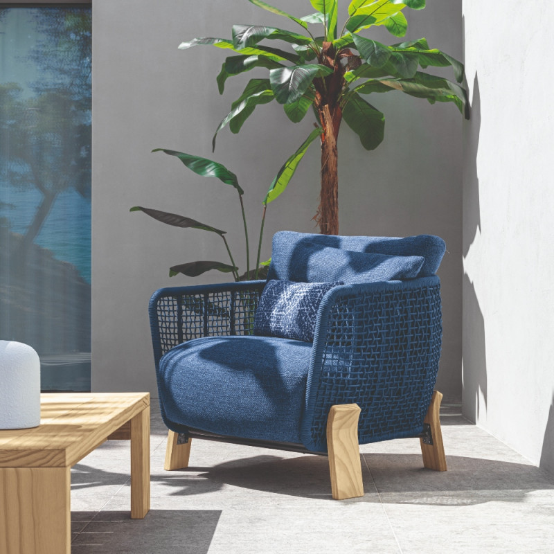 Talenti Argo Garden Lounge Chair Natural Ocean Blue