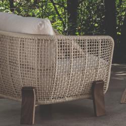 Talenti Argo Garden Love Seat Dark Wood White Beige