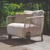 Talenti Argo Garden Lounge Chair Dark Wood White Beige