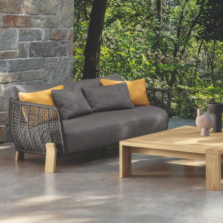 Talenti Argo Garden Love Seat Natural Wood Dark Grey