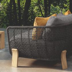 Talenti Argo Garden Love Seat Natural Wood Dark Grey