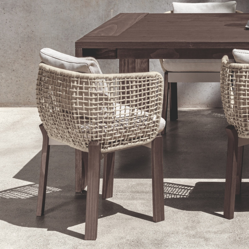 Talenti Argo Garden Dining Chair Dark Wood White Beige