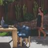 Talenti Argo Garden Dining Chair Natural Wood Ocean Blue