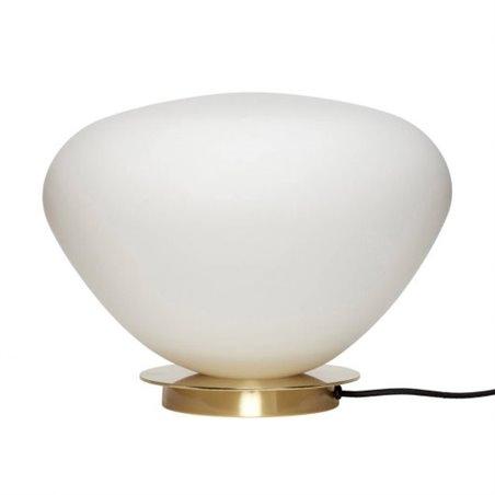 Hubsch Table lamp, glass/metal, brass/white