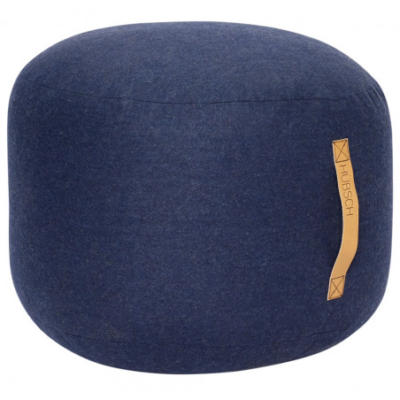 Hubsch Pouf In Navy Blue wool With Leather Handle