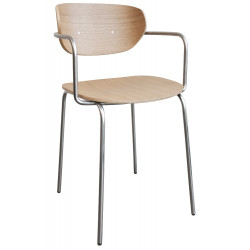 Hubsch Dining Chair stainless steel Natural Wood