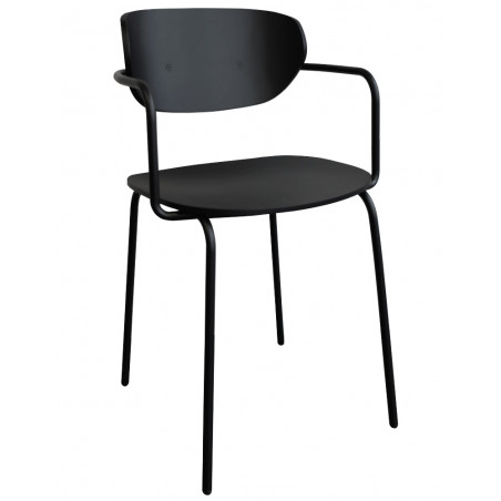 Hubsch Dining Chair Black Painted Wood and Metal