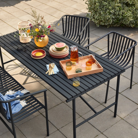 Hubsch Outdoor Dining Table Metal Black