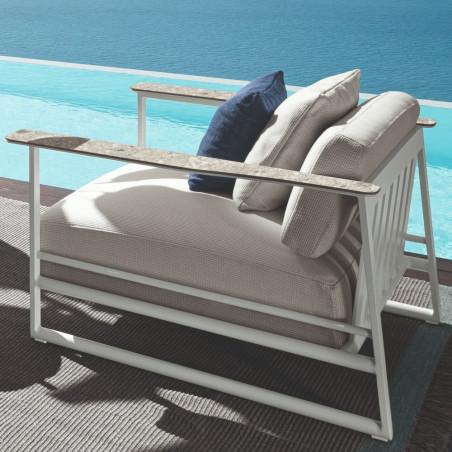 Talenti Riviera Living Armchair White Silver