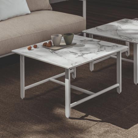 Talenti Riviera 70 x 70 White Coffee Table Calacatta