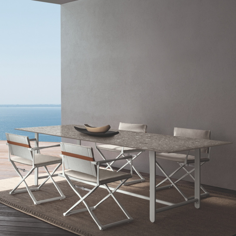Talenti Riviera Garden Dining Table White Grey Stone