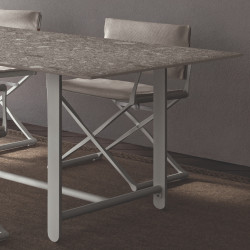 Talenti Riviera Dining Table White Frame Grey Stone 260 CM