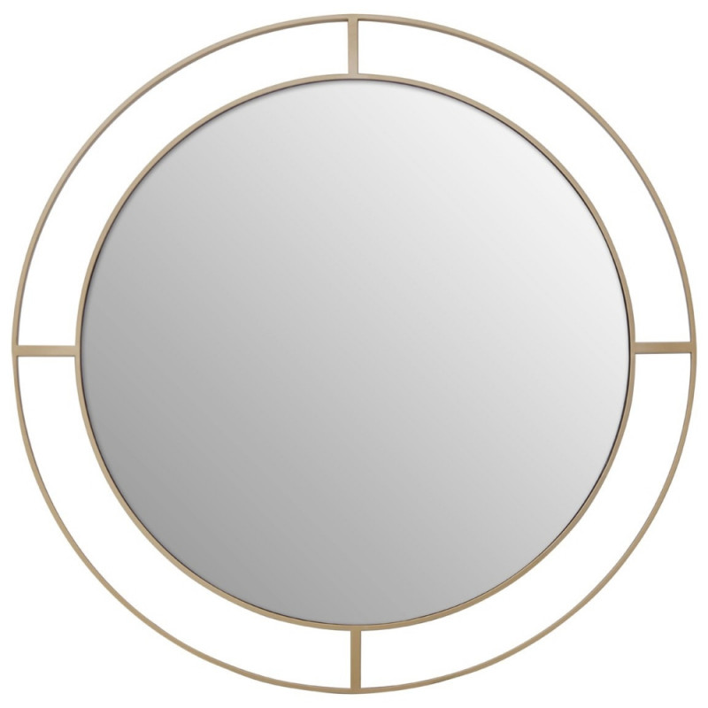 Round Wall Mirror With Metal Frame in Brass Finish 102 CM