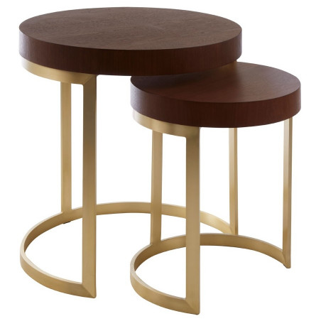 Solid Walnut Wedge Nesting Tables Set of Two
