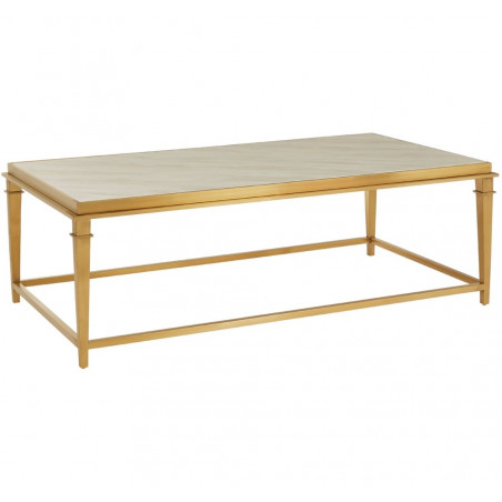 Classic Marble Rectangular Coffee Table Gold