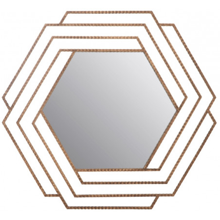 Vintage Style Gold Hexagonal Wall Mirror