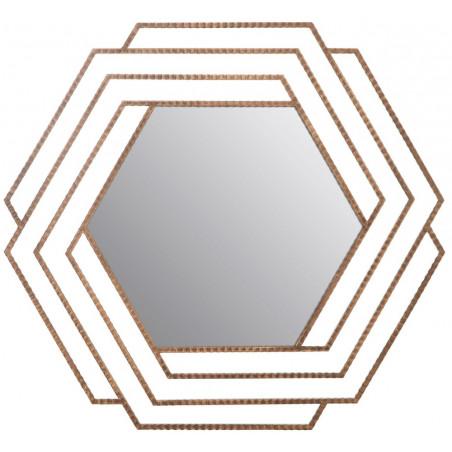 Vintage Style Gold Hexagonal Wall Mirror