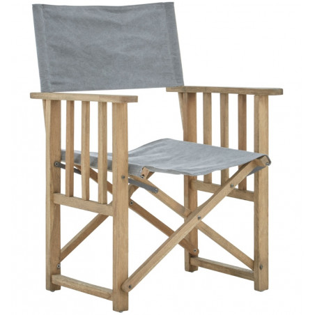 American Oak Directors Chair Grey Linen