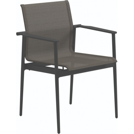 Gloster 180 Stacking Dining Chair with Arms Meteor Granite