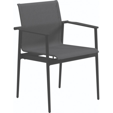 Gloster 180 Stacking Dining Chair with Arms Meteor Anthracite