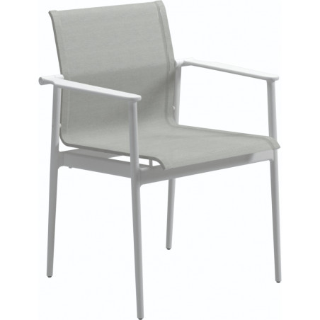 Gloster 180 Stacking Dining Chair with Arms White Seagull
